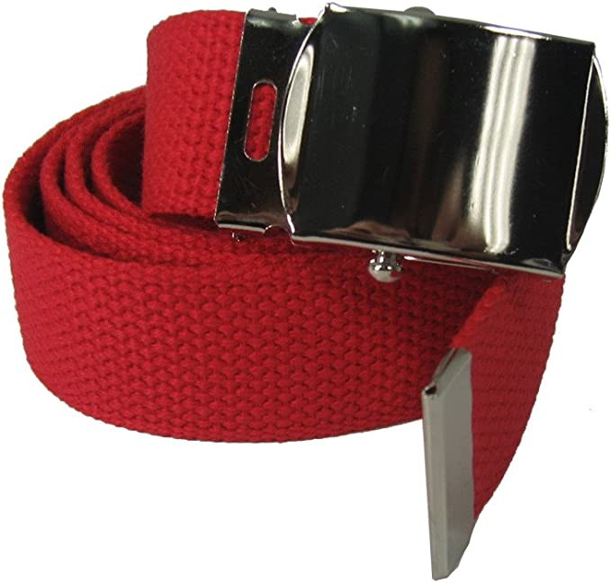 Lightgrey Nice Shades 56 Military Canvas Web Belt w// Silver Roller Buckle