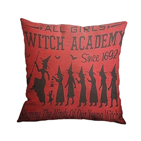 Nunubee Home Sofa Decor Cushion Cover Witch Cat Pumpkin Pillowcase Halloween 19