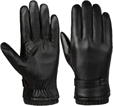 Dall Gloves Gloves Mens Leather Warm Lining Riving Outdoor Touchscreen Winter Color : Black, Size : XL