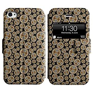 LEOCASE rueda dentada Funda Carcasa Cuero Tapa Case Para Apple iPhone 4 / 4S No.1003324