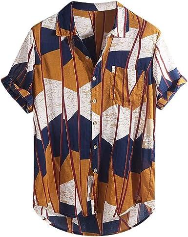 DOGZI Camisas para Hombre - Algodón y Lino Manga Corta Multi Color Vintage Bolsillo en el Pecho Dobladillo Redondo Suelto Camiseta: Amazon.es: Ropa y accesorios