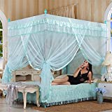 Royal- European Style Square Top Mosquito Net Three-door Encryption Thickening Single Double Bed Stainless Steel Bracket green ( Color : 22mm , Size : 1.82.2m bed )