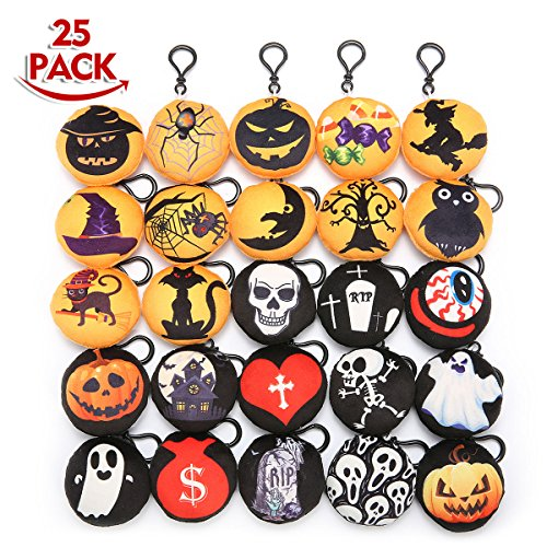 KINGSO 25 Pack 2.5'' Halloween Mini Plush Pillow Emoticon Keychain Halloween Pumpkins Pendant Handbag Bag Keyrings Hallowen Party Decoration Kids Party Supplies Favors,Christmas Tree (Halloween Pillows Decorations)