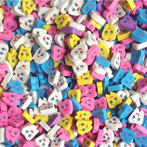 Tooth Erasers (50 Pcs/bag Tooth Shaped Rubber Erasers for Child Kid School Gift)