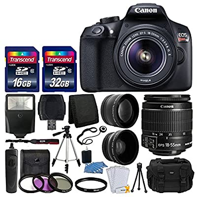 Canon EOS Rebel T6 Digital SLR Camera with 18-55mm EF-S f/3.5-5.6 IS II Lens + 58mm Wide Angle Lens + 2x Telephoto Lens + Flash + 48GB SD Memory Card + UV Filter Kit + Tripod + Full Accessory Bundle by Canon