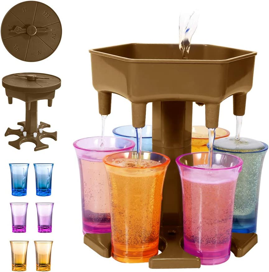 New Version 6 Shot Glass Dispenser and Holder With Game Turntable,Shot Dispenser With 6 Silicone Plug For Filling Liquids, Home Party Bar Shot Dispenser Cocktail Dispenser Carrier (Khaki/With 6 Cups)