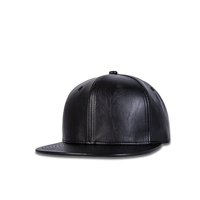 JEDAGX Faux Leather Flat Brim Gorra de béisbol ajustable Snapback Black Hip-hop Hat Cuero de la PU