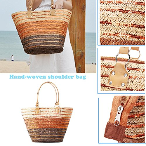 Bolso con Mujer Beach para Yunn de Bolsa Grande Paja Cremallera Holiday Straw Playa de Marrón Bag Bolsa Playa Tote Grande Zipper de Summer Straw 0Iwaq