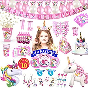 Unicorn Party Supplies – 197 pc Set With Unicorn Themed Party Favors! Pink Unicorn Headband for Girls, Birthday Party Decorations, Unicorn Balloons, Pin the Horn on the Unicorn Game and more| Serve 10!