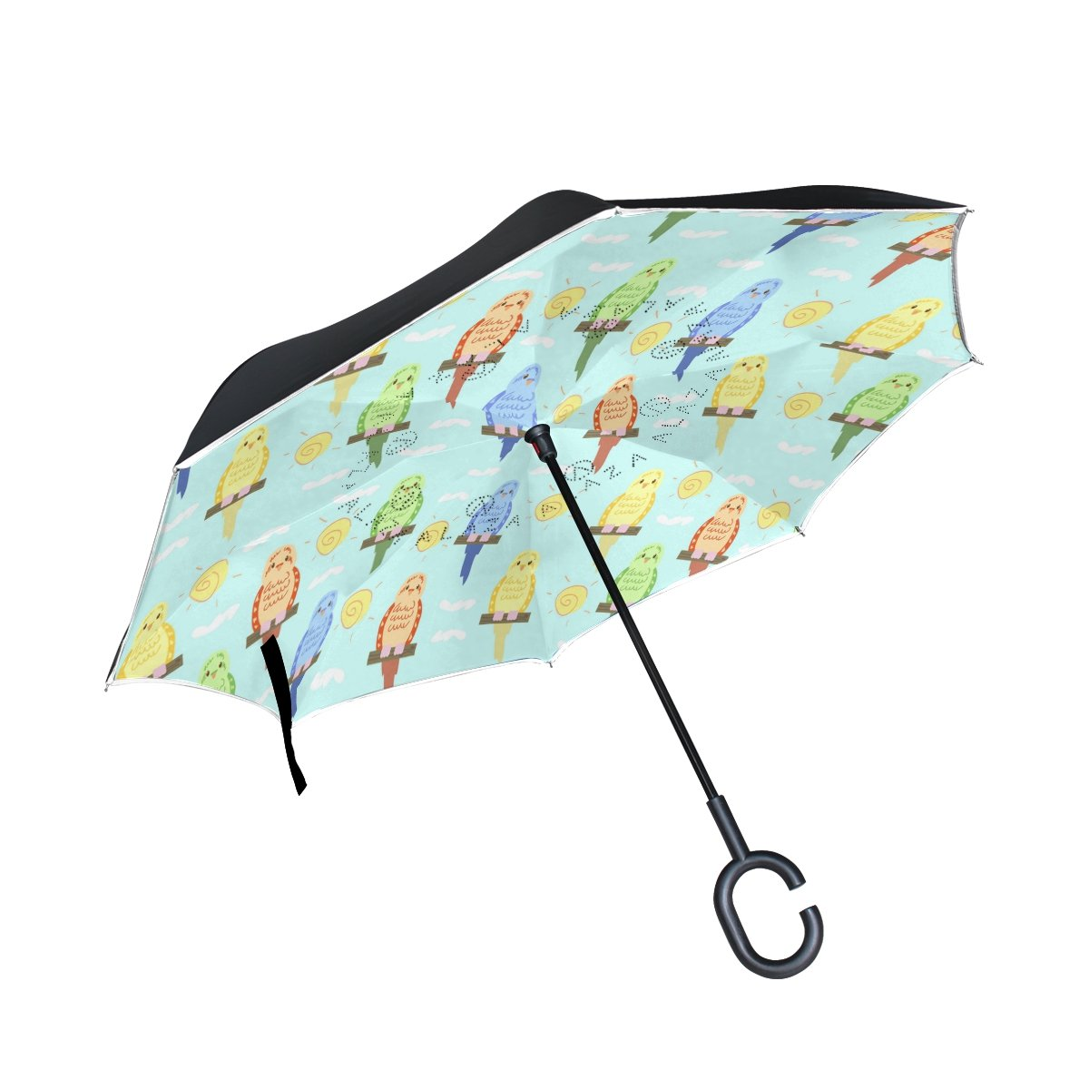 MUMIMI Cartoon Budgie Reverse Umbrella Inverted Double Layer Windproof UV Protection Reverse Folding Umbrellas Inverted Umbrella Travel Umbrella with C Shaped Handle