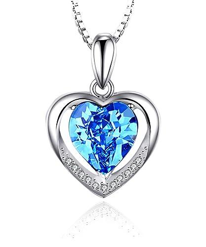 6cbbf0fa78ff Borong Damen Silber Halskette Herz Liebe Anhänger Blau Kristall Zirkonia  mit 925 Sterling Silber Ketten Schmuck Geschenke für Frauen  Amazon.de   Schmuck