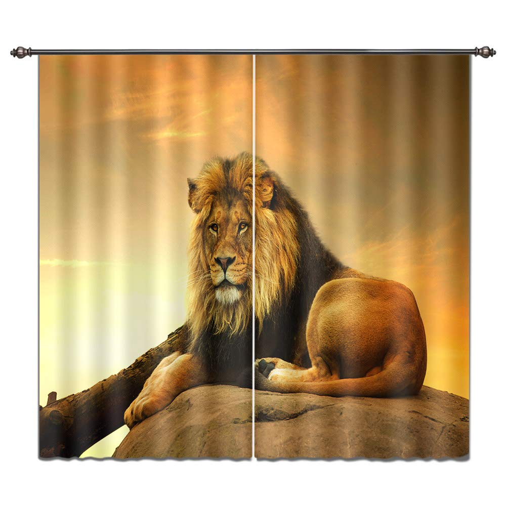 LB Teen Kids Animals Decor Room Darkening Thermal Insulated Blackout Curtains,Lying Lion 3D Window Curtains Drapes Living Room Bedroom 2 Panels Set,28 in Width 65 inch Length