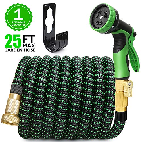 EASYHOSE 25ft Expandable Water Garden Hose,Expanding Flexible Hose with Strength Stretch Fabric with Brass Connectors - 9 Way Spray Nozzle +12 Months Warranty (25ft Expandable Water Hose)