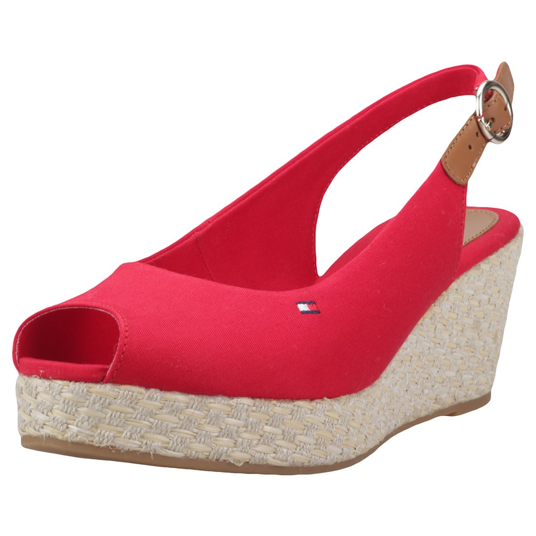 Tommy Hilfiger Iconic Elba Basic Sling Back Womens Wedges Red - 36 EU