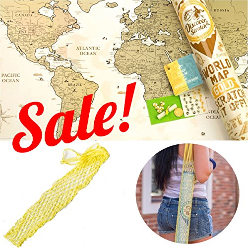 """SPECIAL OFFER! Scratch off World Poster & String Bag, Gold Edition -10%! Premium Quality. Large Size 24x35"""". PLACE FOR SIGN. Enlarged Europe & Caribbean Islands. US States+Canadian Provinces (Canadian Place)"""
