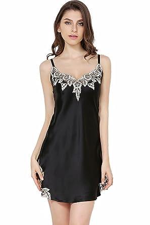 c4405a3c8 ABICO Women's 100% Silk Slips Lace Sling Dress Sleepwear Natural ...