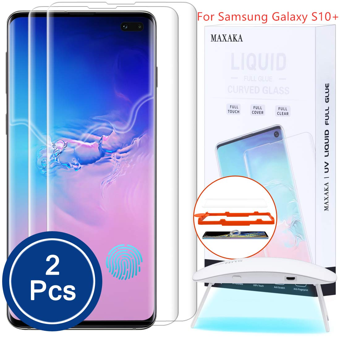 Maxaka Galaxy S10 Plus Screen Protector Tempered Glass, 0.2mm 3D Curved Edge Shield Liquid Dispersion Tech Adhesive Repair Function, UV Light Easy Install Full Kit for Samsung S10P, 2 Pcs Glass by MAXAKA