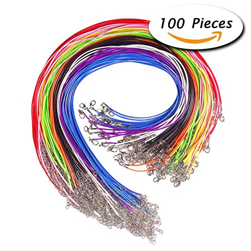 Price comparison product image Paxcoo 100 Pcs 18 Inches Waxed Cotton Necklace Cord with Lobster Claw Clasp for DIY Jewelry Making, Mix Color