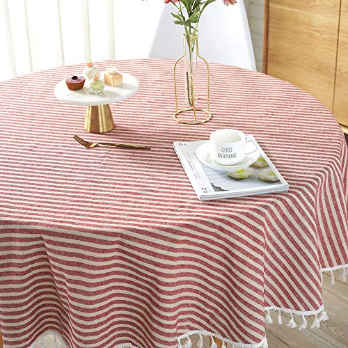 Lahome Stripe Tassel Tablecloth – Cotton Linen Table Cover Kitchen Dining Room Restaurant Party Decoration (Round – 60″, Red)