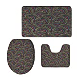 Fashion 3D Baseball Printed,Moroccan Decor,Colorful Ethnicity Round Ornamental Islamic Architecture Building Palace Tourism,U-Shaped Toilet Mat+Area Rug+Toilet Lid Covers 3PCS/Set