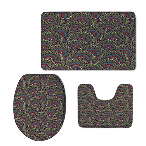 Fashion 3D Baseball Printed,Moroccan Decor,Colorful Ethnicity Round Ornamental Islamic Architecture Building Palace Tourism,U-Shaped Toilet Mat+Area Rug+Toilet Lid Covers 3PCS/Set by iPrint