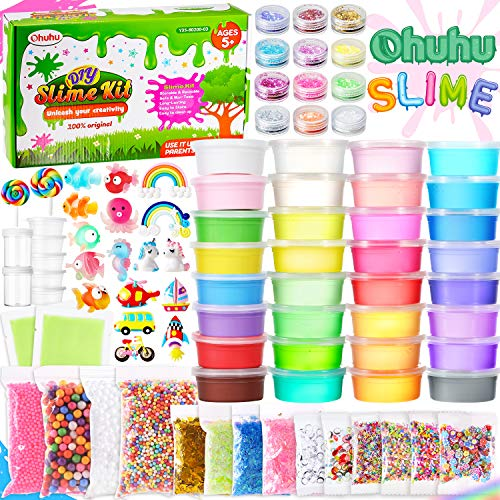 DIY-Clay-Slime-Kit-for-Girls-Boys-Ohuhu-86-Pack-Slime-Making-Kit-with-24-Crystal-Slime-8-Light-Clay-Glitter-Slice-Foam-Balls-Sprinkles-Bead-Sugar-Paper-Container-Unicorn-and-Other-Accessories
