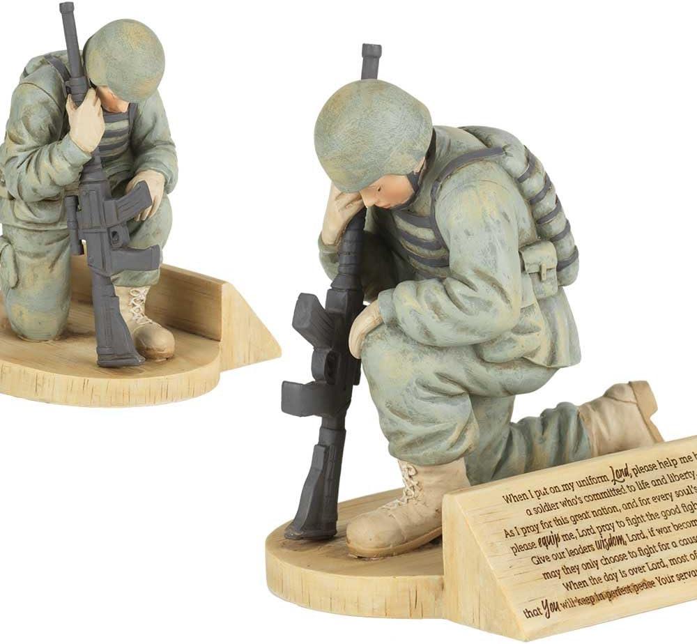 Dicksons Soldier's Prayer, Kneeling in Uniform 4.5 x 5.5 Resin Stone Tabletop Figurine