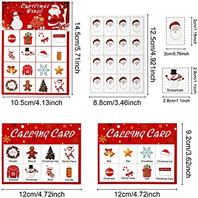 Christmas Bingo Game Christmas Party Bingo Games Christmas Party Supplies for 16 Players Party Favors Style 1
