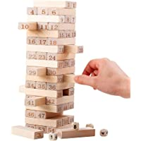 Wishkey Tumbling Tower Numbered Wooden Blocks, 51 Pieces Block Stacking Game with 4 Dices