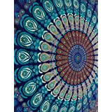 Handicrunch Blue Color Theme Queen Size Mandala Wall Tapestries, Psychedelic Indian Tapestry Bedding, Bohemian Wall Hanging, Floral Print Bed Cover