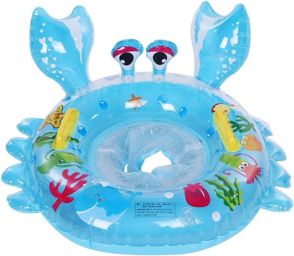 Tnfeeon Anillo de natación para bebés, Anillo de natación Barco Lindo Animal de Dibujos Animados Forma de Cangrejo boya Inflable Juguete de Piscina para niños (Azul)