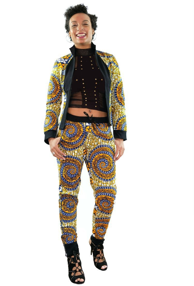 Ivai Ankara Print Brown Jogger Pant Suit by Imbiecm