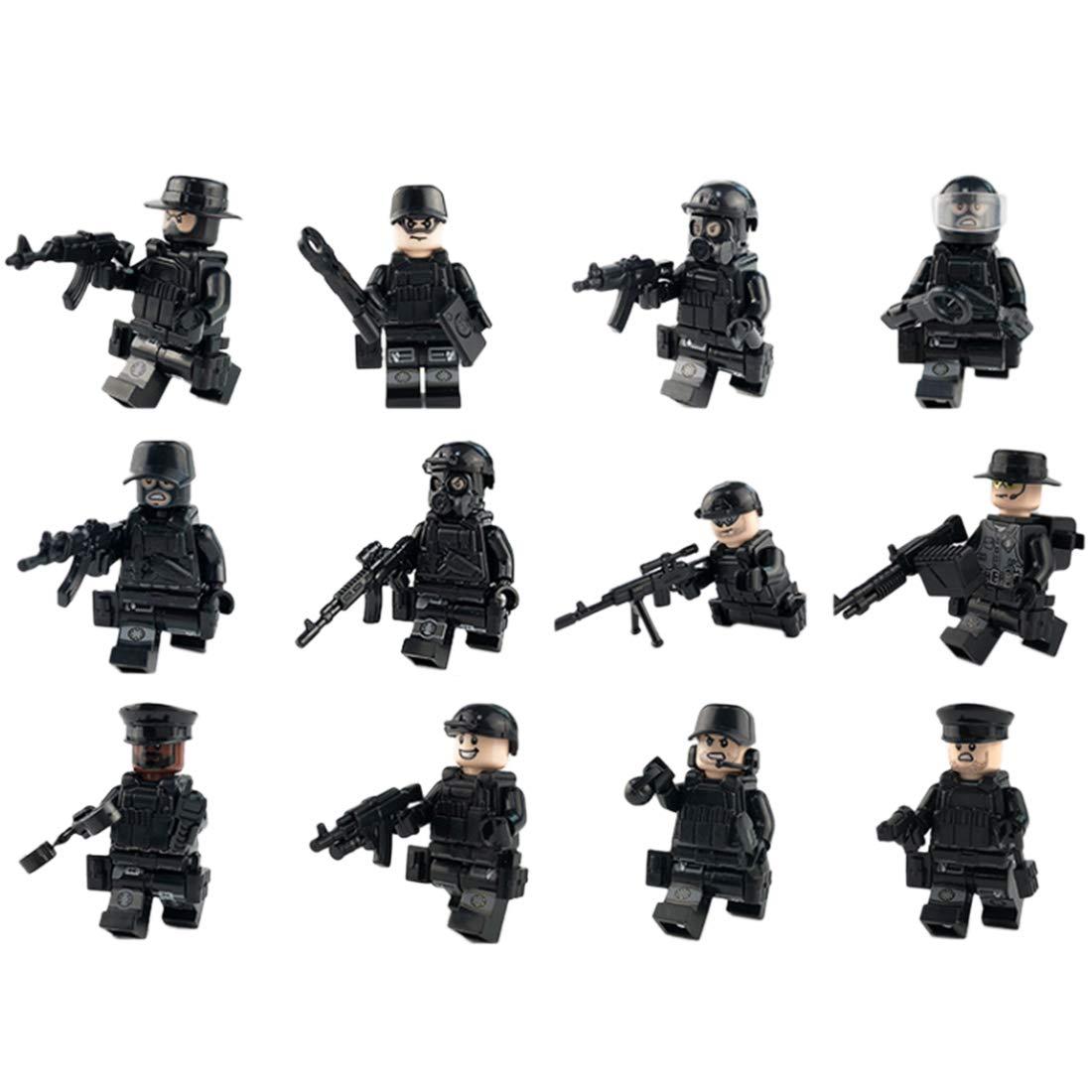 Riva776Yale 12 pezzi Mini Poliziotto Minifigures Set , SWAT Team Building Blocks, Building Blocks Kids Educational Toy- Nero