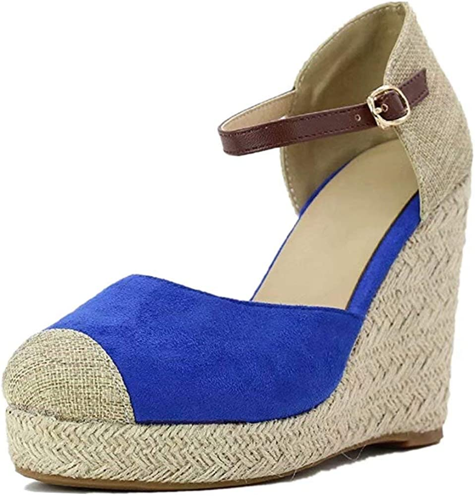 Sandalias Mujer Cuña, Verano Plataforma Punta Cerradas Bohemias Zapatos De Tacón Alto Alpargatas De Playa Fiesta Negro Azul Beige Verde 34-43