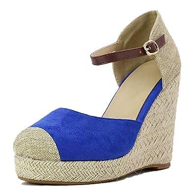 09885a56cd JOYTO Women Wedge Sandals Espadrilles Summer Suede Leather Platform High  Heel 10 cm Ankle Strap Closed