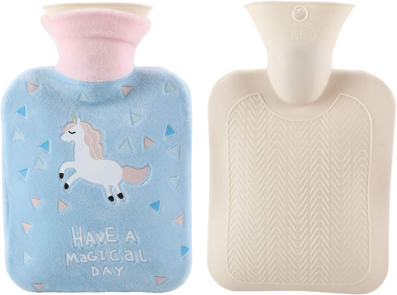 Premium Rubber Hot Water Bottle Unicorn Gifts Bag with Plush Cover Durable Blue