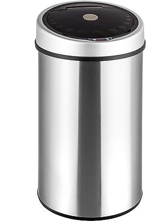 TecTake Sensor Abfalleimer Mülleimer Diverse Größen (50 Liter Edelstahl)