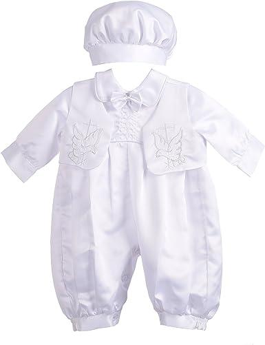 Lito Baby Boys 3 Piece Christening Baptism Embroidered Vest Set