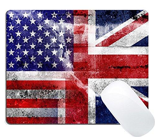 Wknoon Gaming Mouse Pad Custom, USA and UK Flag painted on grunge - Custom Uk