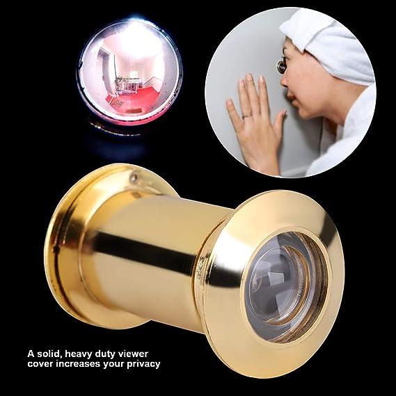 Couleur : BRIGHT CHROME Visionneuse de porte Visi/ère grand angle en forme de trou de visi/ère avec cache de protection robuste