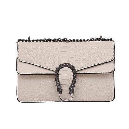 f19e6e181f6be Windwelle Damen PU Leder Quadratische Kette Handtasche Schultertasche  Messenger Bag Umhängetasche ( Beige- L )