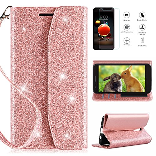 LG Tribute Dynasty/LG Zone 4/LG Aristo 2/LG Aristo 2 Plus/LG Rebel 3 LTE/LG Fortune 2/Risio 3 Wallet Case w/Screen Protector,CaseRoo [Kickstand][Card Slots] Glitter Case with Cosmetic Mirror-Rosegold