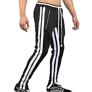 Mxssi Hombres Pantalones de chándal a Rayas Moda Spliced Color ...