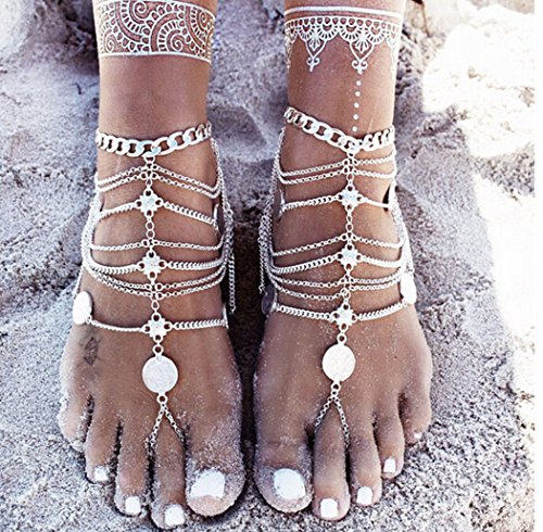 Miss Mara Bohemian Vintage Silver Coins Anklet Foot Jewelry Barefoot Sandal Anklet Chain (Silver) by Ms.Mara (Image #4)
