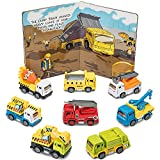 Prextex Pullback and Go Die Cast Metal Constructions Trucks with Illustrated Hard Cover Book