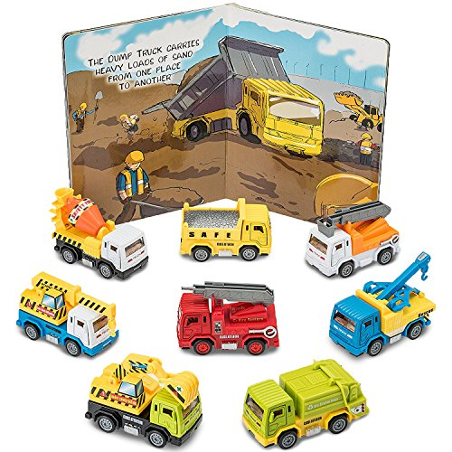 Prextex Pullback and Go Die Cast Metal Constructions Trucks with Illustrated Hard Cover Book - Excavator Parts Book