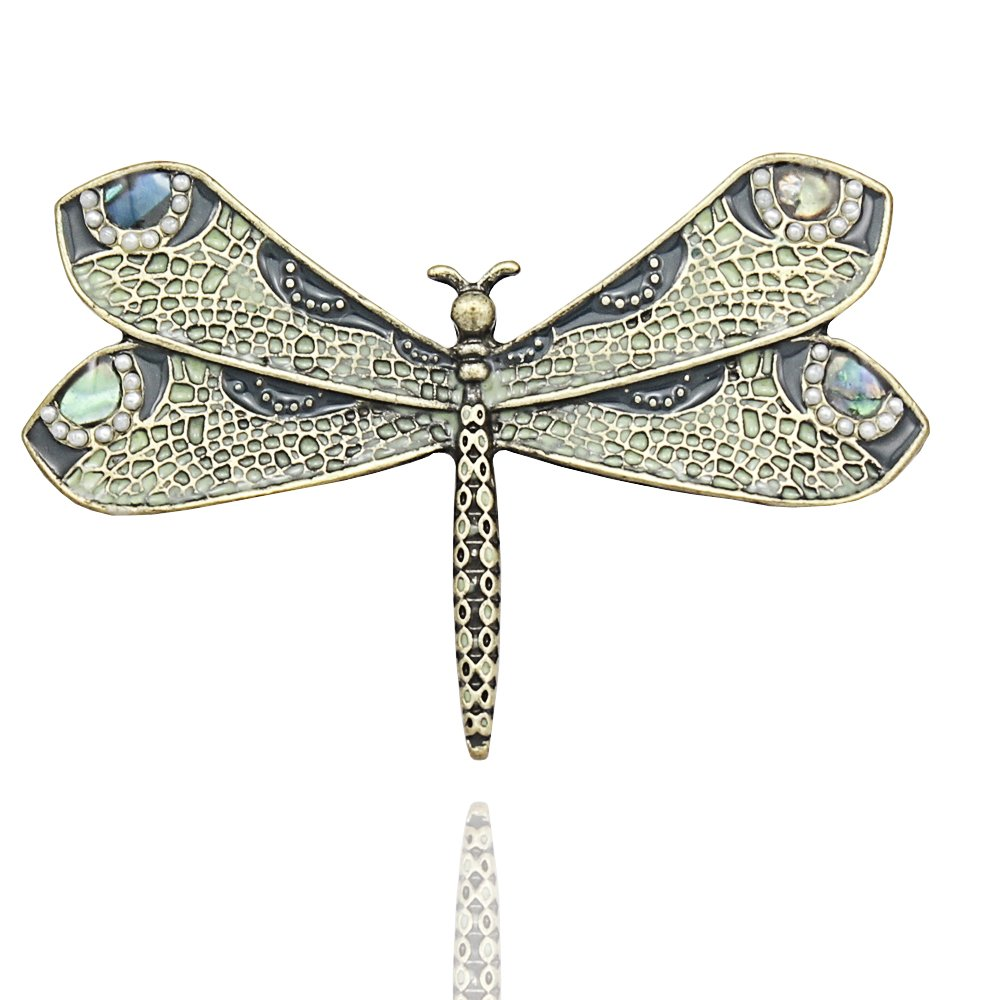 Q&Q Fashion Retro Art Nouveau Victorian Dragonfly Simulated - Pearl Wing French Lapel Brooch Pin Badge 81463