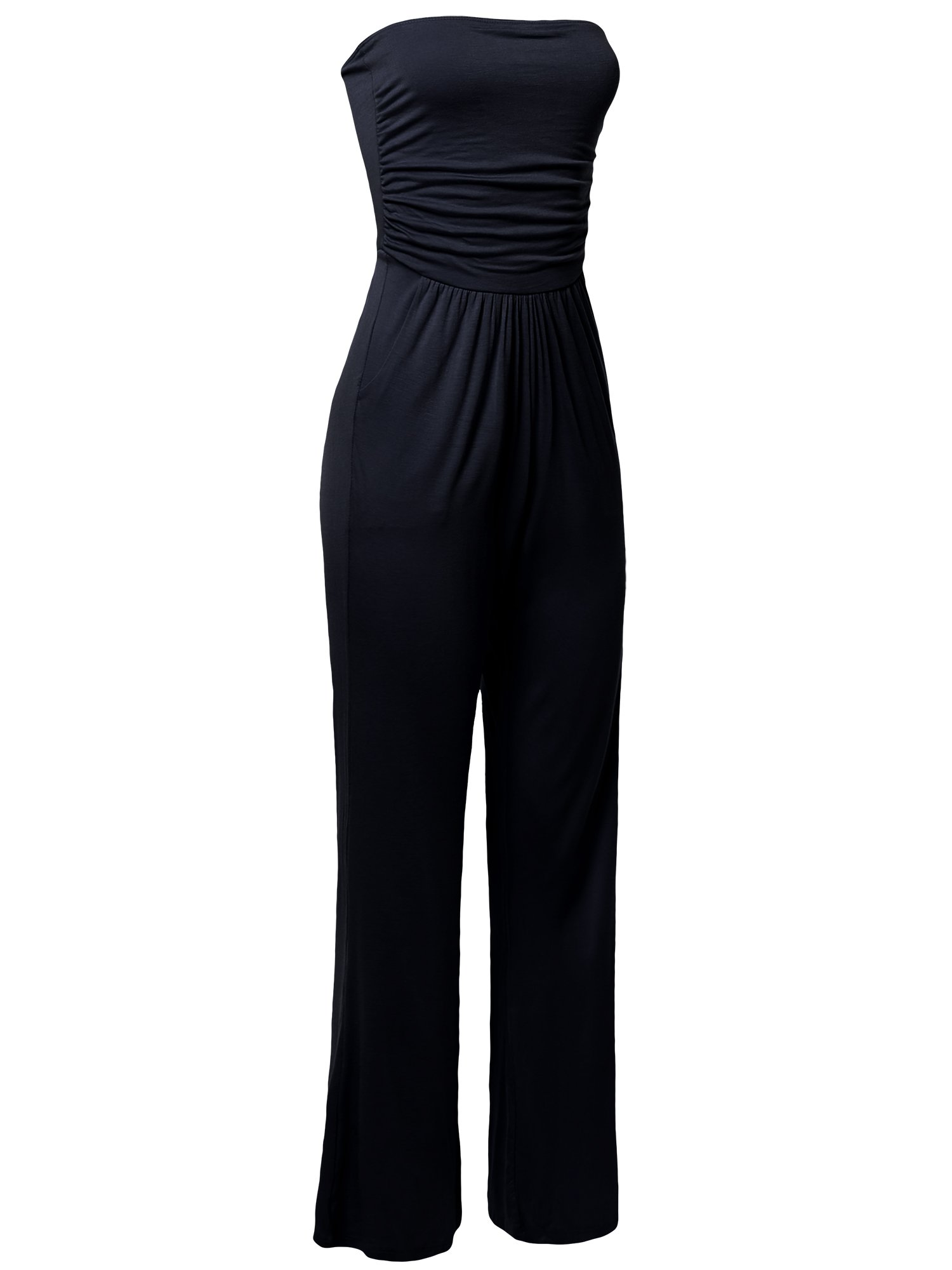 Made by Emma Casual Tube Top Strapless Stretchable Long Wide Leg Jumpsuit Navy S