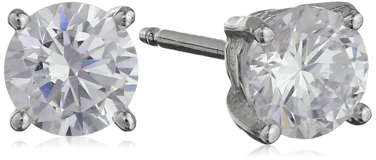 Amazon Essentials Platinum Plated Sterling Silver Round Cut Cubic Zirconia Stud Earrings (5mm) by Amazon Essentials (Image #2)