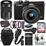 Canon EOS M100 Mirrorless Camera w/ 15-45mm Lens & 55-200mm Lenses (Black) and 64GB + Battery & Charger Replacement + Xpix Cleaning Kit + Deluxe Bundle